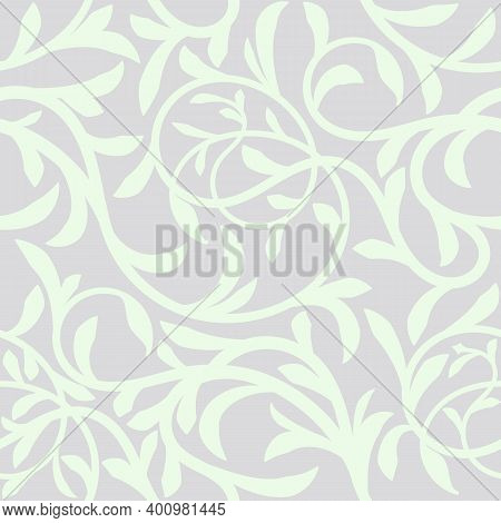 Floral Seamless Pattern Background. Intertwined Twigs Tree Liana With Leaves For Christmas And Weddi