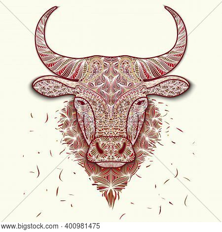 Colorful Mosaic Head Ox. Symbol Of 2021 New Year Isolated On White. Patterned Face Of Bull. Decorati