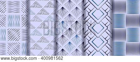 Set Of Seamless Patterns Of Hand Drawn Sketches Hatching Blue Backgrounds. Repeating Texture Wallpap