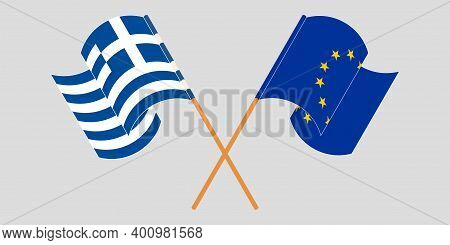 Crossed And Waving Flags Of Greece And The Eu. Vector Illustration