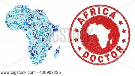 Vector Mosaic Africa Map With Medical Icons, First Aid Symbols, And Grunge Doctor Rubber Imitation.
