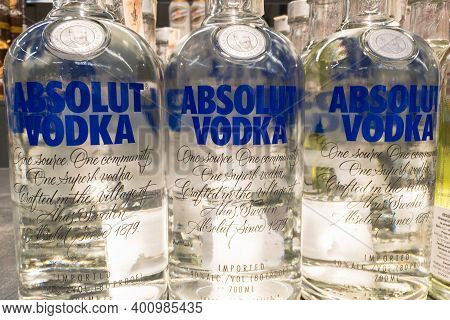 Belgrade, Serbia - December 13, 2020: Absolut Vodka Logo On Some Bottles For Sale. Absolut A Brand O
