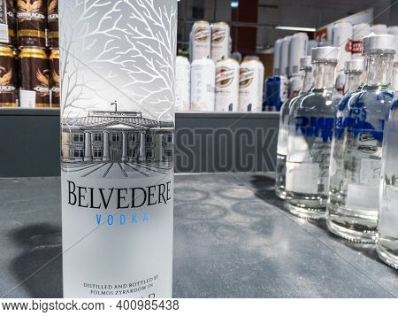 Belgrade, Serbia - December 13, 2020: Belvedere Vodka Logo On Some Bottles For Sale. Belvedere A Bra
