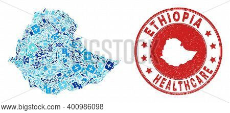 Vector Collage Ethiopia Map With Medical Icons, Labs Symbols, And Grunge Health Care Seal Stamp. Red