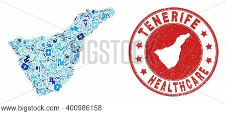 Vector Mosaic Tenerife Map With Medical Icons, Receipt Symbols, And Grunge Healthcare Rubber Imitati