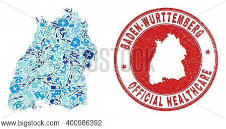 Vector Mosaic Baden-wurttemberg Land Map With Dose Icons, Chemical Symbols, And Grunge Health Care S