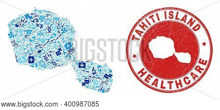 Vector Collage Tahiti Island Map With Treatment Icons, First Aid Symbols, And Grunge Doctor Stamp. R