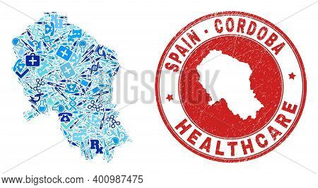 Vector Collage Cordoba Spanish Province Map Of Healthcare Icons, Medicine Symbols, And Grunge Doctor