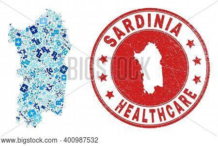 Vector Mosaic Sardinia Map With Treatment Icons, Medicine Symbols, And Grunge Health Care Imprint. R
