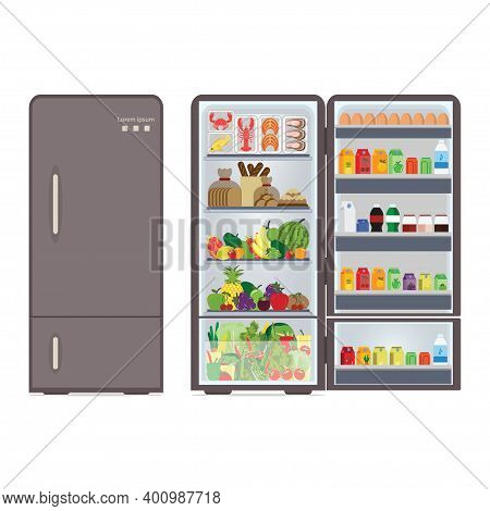 Modern Closed And Opened Refrigerator Full Of Food And Drink, Beverages, Fruit,vegetable And Seafood