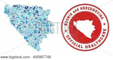 Vector Collage Bosnia And Herzegovina Map Of Medical Icons, Test Symbols, And Grunge Health Care Sea