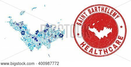 Vector Mosaic Saint Barthelemy Map With Injection Icons, Analysis Symbols, And Grunge Healthcare Rub