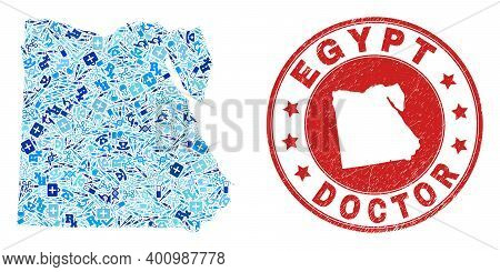 Vector Mosaic Egypt Map Of Dose Icons, Laboratory Symbols, And Grunge Healthcare Rubber Imitation. R