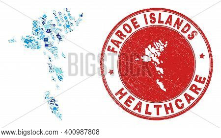 Vector Mosaic Faroe Islands Map With Dose Icons, Hospital Symbols, And Grunge Health Care Imprint. R