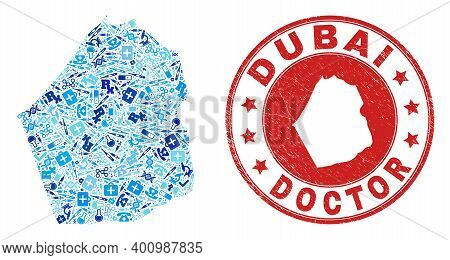 Vector Mosaic Dubai Emirate Map With Treatment Icons, Hospital Symbols, And Grunge Health Care Impri