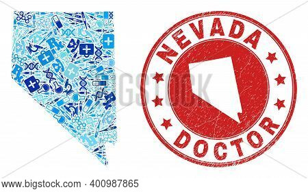 Vector Mosaic Nevada State Map With Treatment Icons, Analysis Symbols, And Grunge Healthcare Stamp.
