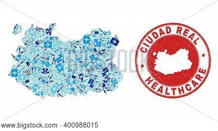 Vector Collage Ciudad Real Province Map With Healthcare Icons, Medicine Symbols, And Grunge Healthca