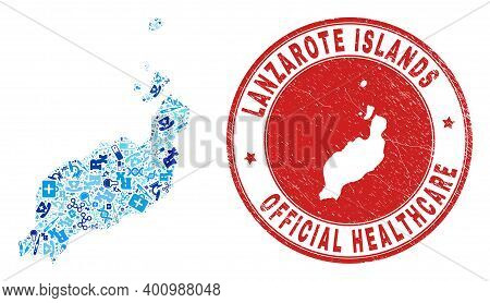 Vector Collage Lanzarote Islands Map With Medical Icons, Labs Symbols, And Grunge Doctor Imprint. Re
