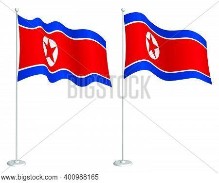 Flag Of Dprk, North Korea On Flagpole Waving In Wind. Holiday Design Element. Checkpoint For Map Sym
