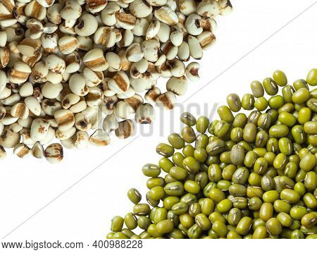 White Job's Tears, Adlay Millet Or Pearl Millet And Mung Bean Isolated On White Background. Raw Food