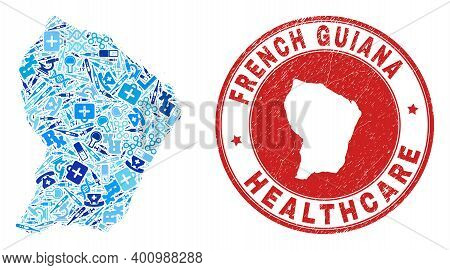 Vector Collage French Guiana Map Of Injection Icons, Labs Symbols, And Grunge Health Care Seal. Red