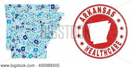 Vector Collage Arkansas State Map With Medical Icons, Laboratory Symbols, And Grunge Doctor Seal Sta