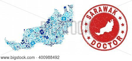 Vector Mosaic Sarawak State Map With Medical Icons, Chemical Symbols, And Grunge Doctor Imprint. Red
