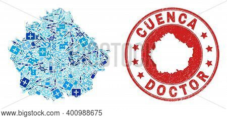 Vector Mosaic Cuenca Province Map With Dose Icons, Labs Symbols, And Grunge Health Care Imprint. Red