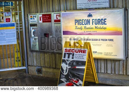 Avondale Estates, Ga / Usa - 07 07 20: Marta Kinsington Transit Station Sign With Information And A