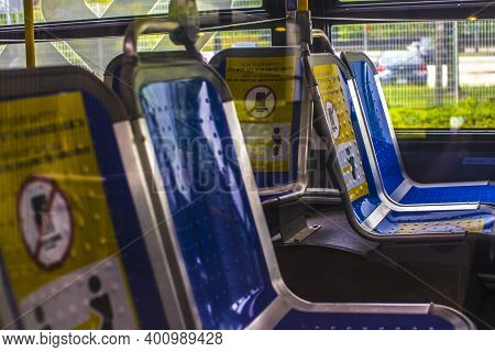 Avondale Estates, Ga / Usa - 07 07 20: Marta Kinsington Transit Station View Of Seats In A Marta Bus