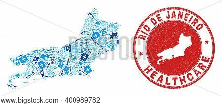 Vector Collage Rio De Janeiro State Map Of Medical Icons, First Aid Symbols, And Grunge Health Care