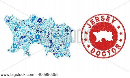 Vector Collage Jersey Island Map With Treatment Icons, Laboratory Symbols, And Grunge Healthcare Rub