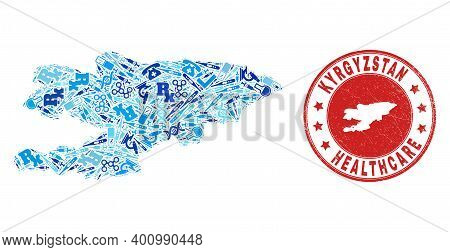 Vector Mosaic Kyrgyzstan Map With Dose Icons, First Aid Symbols, And Grunge Health Care Watermark. R