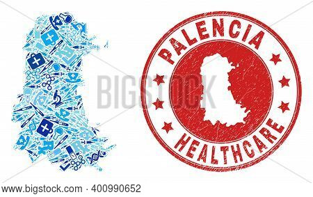 Vector Collage Palencia Province Map With Dose Icons, Medicine Symbols, And Grunge Doctor Seal Stamp