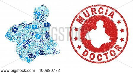 Vector Collage Murcia Province Map With Vaccination Icons, Labs Symbols, And Grunge Doctor Rubber Im