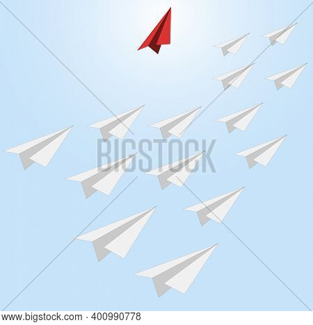 Different Way, Individual Path. Unique Leadership Way, Plane Lead Different, Freedom And Independent