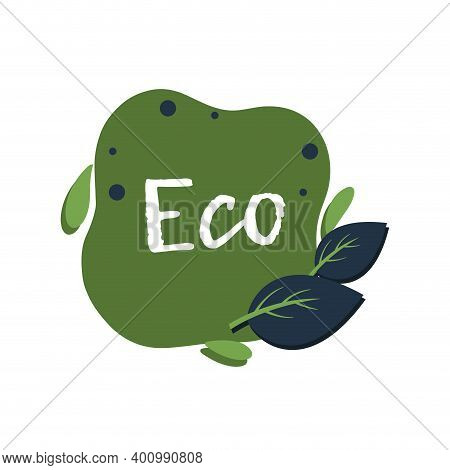 Eco Green Label With Leaf Tree. Eat Natural Veggie Stamp, Healthy And Fresh Product, Vector Illustra