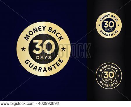 30 Days Money Back Guarantee Vector Illustration, Elegant Gold Colored