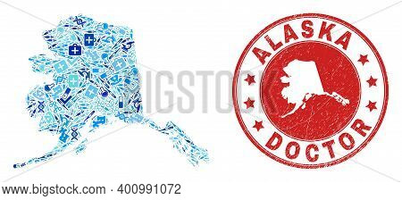 Vector Collage Alaska Map With Dose Icons, Analysis Symbols, And Grunge Health Care Seal Stamp. Red