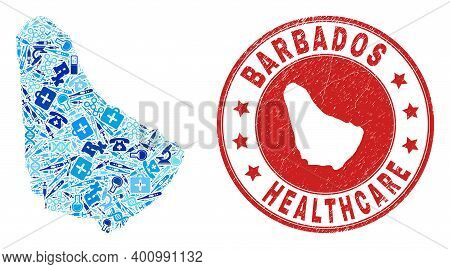 Vector Mosaic Barbados Map With Vaccination Icons, Test Symbols, And Grunge Healthcare Seal. Red Rou