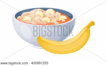 Porridge With Bananas. Cartoon Oat Bowls. Isolated Plate With Oatmeal Or Muesli And Yellow Fruit. Mo