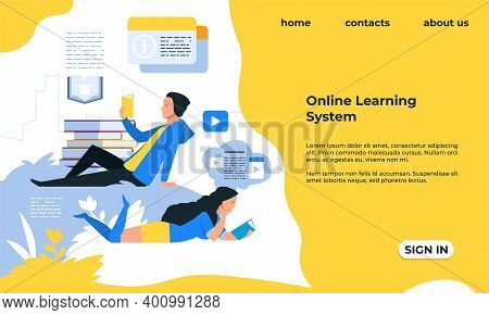 Online Learning Landing Page. Distant Education, Modern Studying With Smart Technologies. Website Ui