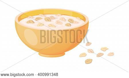 Porridge. Cartoon Plate With Oatmeal Or Muesli. Isolated Oat Bowl And Scattered Flakes. Traditional