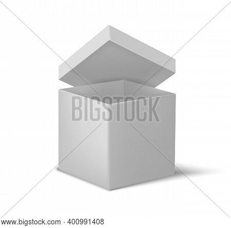 White Open Box. Realistic Cardboard Cube, 3d Empty Container With Lid And Shadow Overlay Effect. Geo