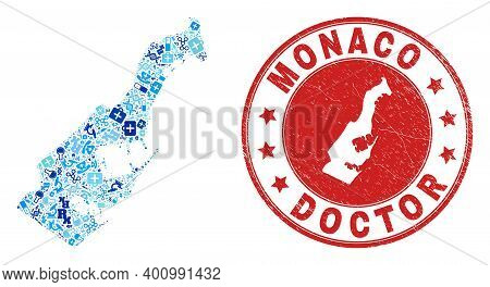 Vector Mosaic Monaco Map Of Dose Icons, Hospital Symbols, And Grunge Healthcare Seal Stamp. Red Roun