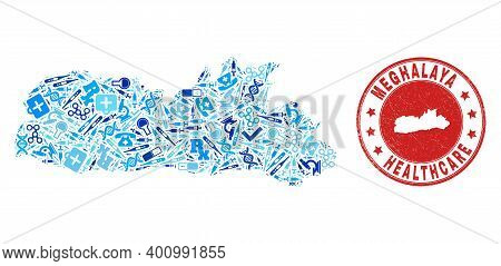 Vector Collage Meghalaya State Map With Dose Icons, Labs Symbols, And Grunge Health Care Seal. Red R