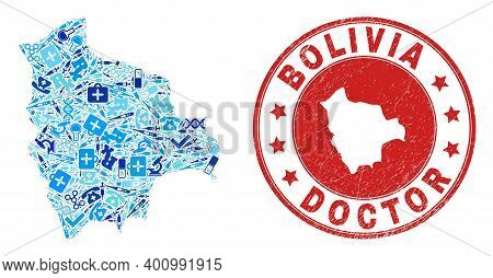 Vector Mosaic Bolivia Map With Inoculation Icons, Analysis Symbols, And Grunge Health Care Seal. Red