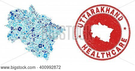 Vector Collage Uttarakhand State Map With Syringe Icons, Analysis Symbols, And Grunge Healthcare Sta