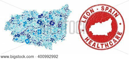 Vector Mosaic Leon Province Map With Vaccine Icons, Labs Symbols, And Grunge Health Care Rubber Imit