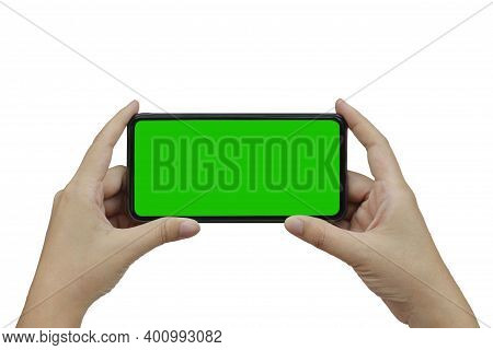 Hand Holding Phone Mobile Green Screen Isolated On White Background